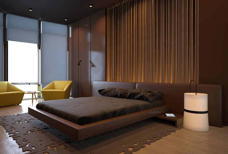 Спальня в шоколадном цвете дизайн